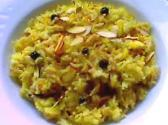 Saffron Basmati Pilaf With Currants And Almonds